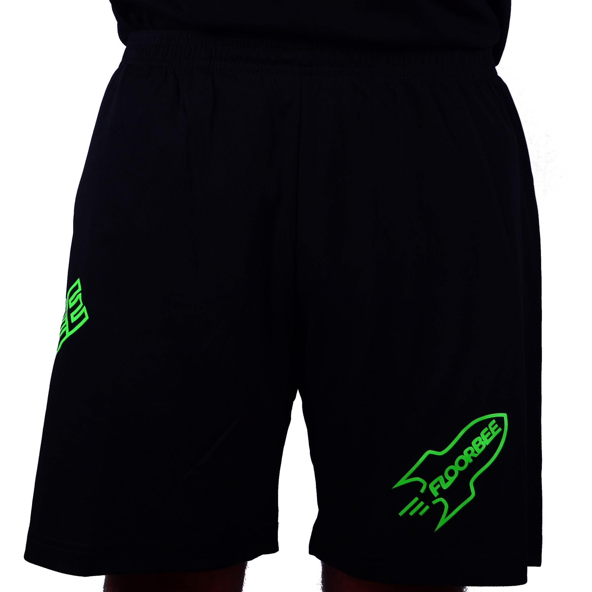 FLOORBEE The Rocket shorts XL, neonově zelená / černá