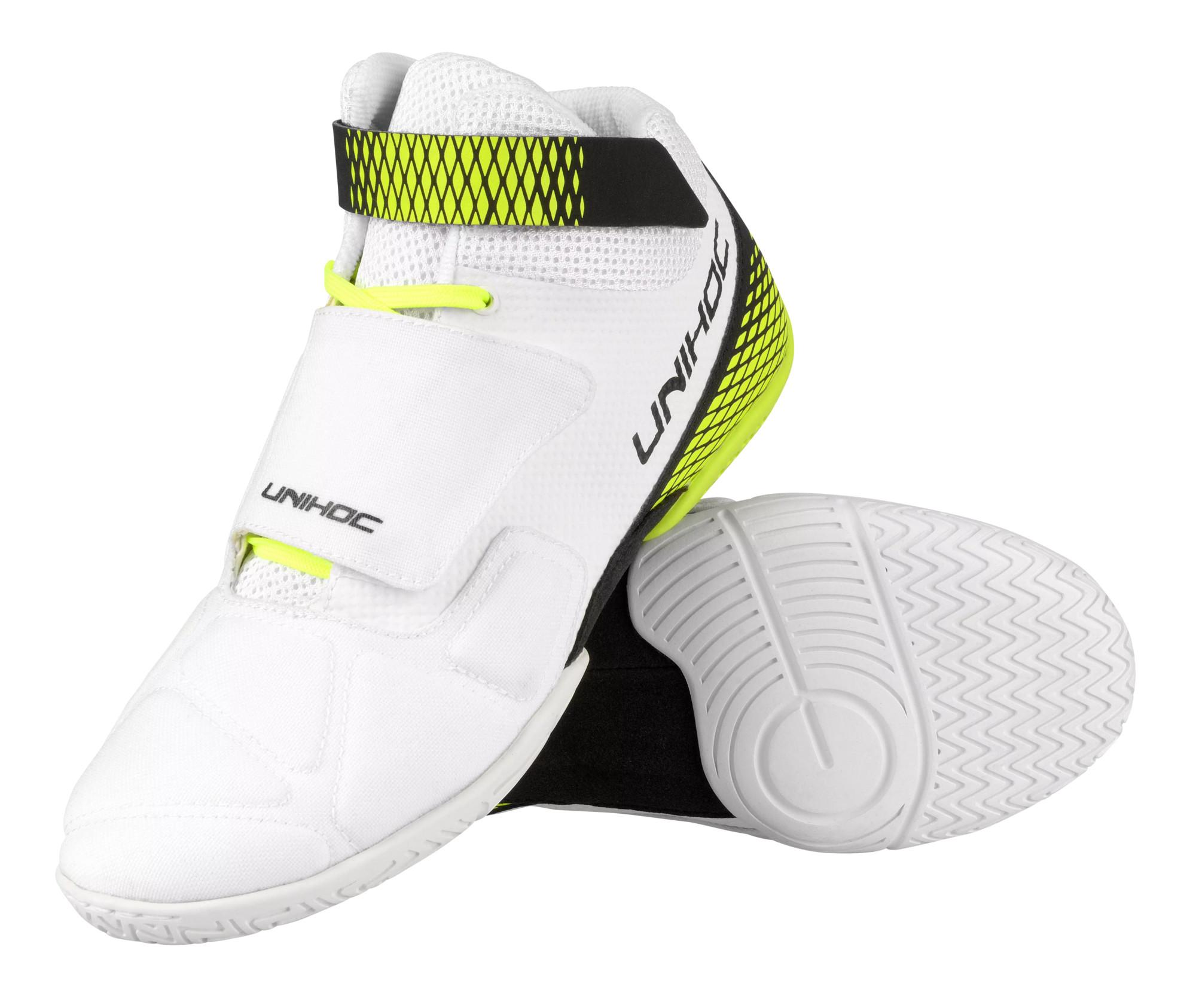 Unihoc U4 Goalie white/neon yellow bílá / neonově žlutá, UK 4, EU 37, US 5, 23,5 cm