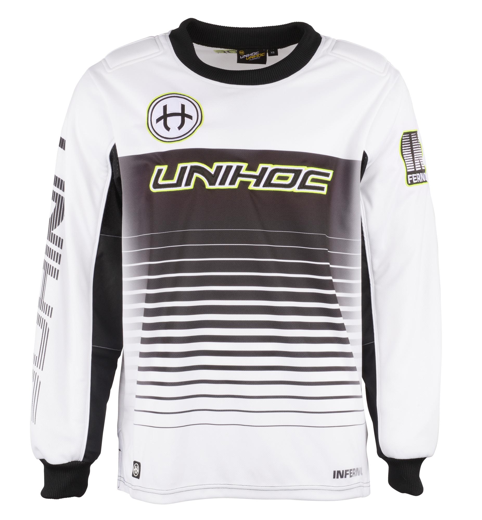 5d0b90bf6d2 Unihoc INFERNO white black Goalie jersey