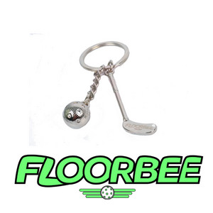 FLOORBEE Stick & Ball Floorball metal keychain
