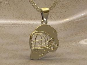 Přívěšek florbalová maska pozlacená Zlatá