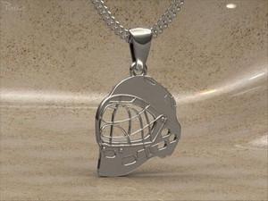 Přívěšek - florbalová maska stříbrná Stříbrná