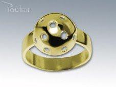Prsten florbalový míček žlutý Zlatá 54
