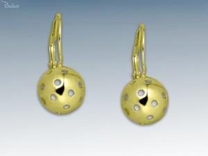 Náušnice Florbalový míček žlutý Zlatá