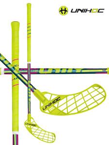 Florbalová hokejka Unihoc UNITY Curve 1.5º 32 neon yellow/cerise `15 neonově žlutá Levá ruka níže 87cm (=97cm)