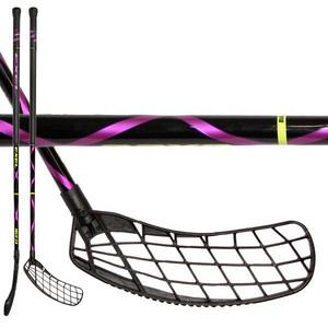 Florbalová hokejka Exel Helix 2.6 101 Air Round `15 černá / fialová Pravá ruka níže 101cm (=111cm)