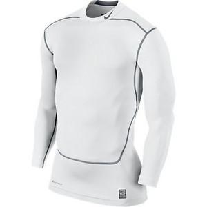 Tričko Nike CORE COMPRESSION LS MOCK 2.0 `15 XXL 100 - bílá/šedá