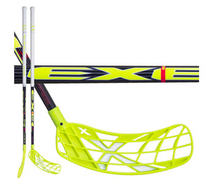 Florbalová hokejka Exel X-PLAY NANO BLACK 2.6 103 ROUND `16 černá / neonově žlutá Pravá (pravá ruka níže) 103cm (=113cm)
