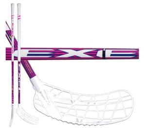 Florbalová hokejka Exel i-PLAY NANO PINK 2.6 103 ROUND SB `16 bílá / fialová / růžová Pravá ruka níže 103cm (=113cm)