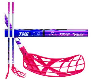 Florbalová hokejka Exel THE1 BLUE PINK 2.9ROUND SB `16 modrá / růžová Levá ruka níže 98cm (=108cm)