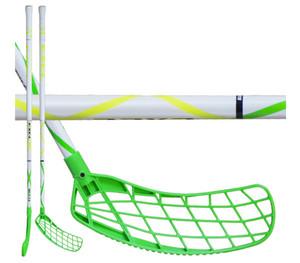 Florbalová hokejka Exel Helix white 2.6 101 round SB `16 neonově zelená / bílá Levá ruka níže 101cm (=111cm)