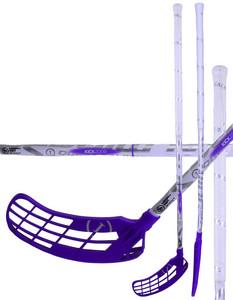 Florbalová hokejka Salming Quest1 KickZone TipCurve 5° 29 SMU `16 1 pcs fialová / bílá Quest1 Pravá (pravá ruka níže) 100cm (=110cm)