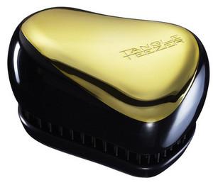 Zlatý kompaktní kartáč TANGLE TEEZER COMPACT STYLER Gold Fever Černo-zlatá