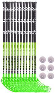 Unihoc WINNER 12 sticks + 6 balls černá / zelená, Oboustranná, 87cm (=97cm)