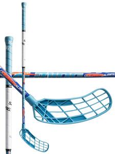 Salming Quest1 X-shaft KickZone TipCurve 3° JR modrá / bílá / oranžová Pravá (pravá ruka níže) 87cm (=97cm)