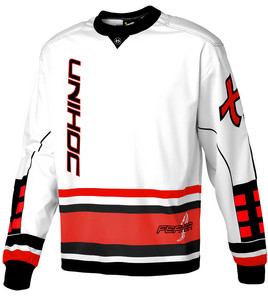 Unihoc Feather white/neon red Goalkeeper jersey