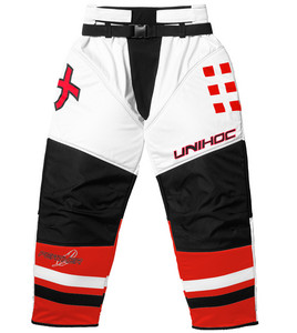 Unihoc Feather white/neon red Goalie pants