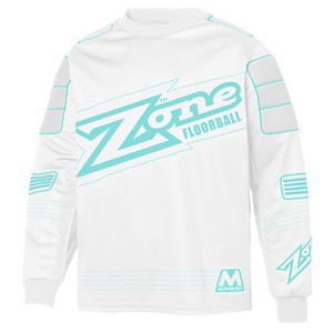 Zone floorball MONSTER white/light turquoise Brankársky dres