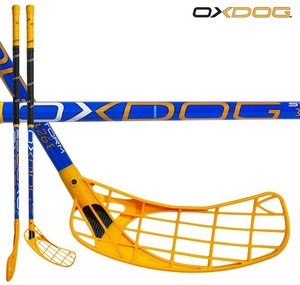 Florbalová hokejka Oxdog Storm 26 blue 101 round MBC `16 modrá / žlutá Pravá ruka níže 101cm (=111cm)