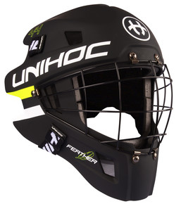Unihoc FEATHER 44 black/neon yellow Goalie helmet