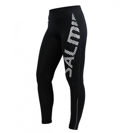 Salming Logo Tights 2.0 Women Black/Silver Reflective Lauf elastische Hose