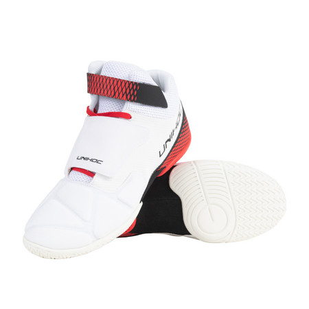 Unihoc Shoe U4 Goalie white/red Goalie Indoor shoes