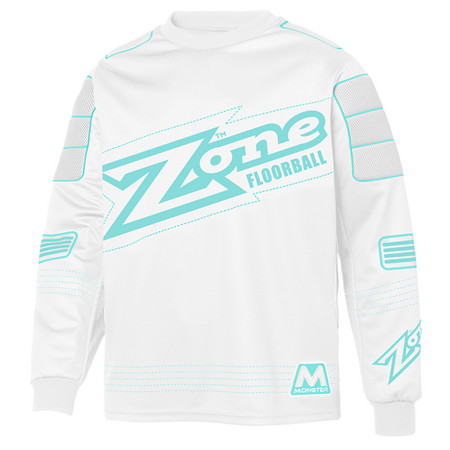 Zone floorball MONSTER white/light turquoise Brankářský dres