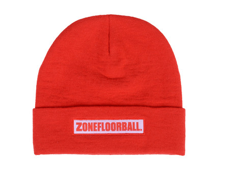 Zone floorball Beanie LOW KEY red/white Čepice