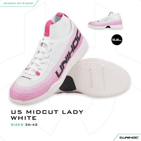 Unihoc Shoe U5 PRO MidCut Lady white Indoor shoes